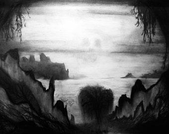 Underworld - charcoal drawing