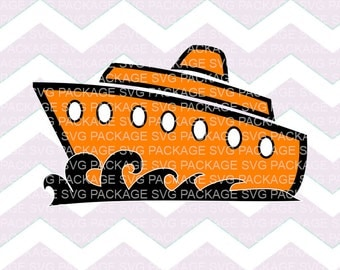 SVG Cutting File, Cruise Ship, Boat Clipart, Boat SVG, vacation, Big ship chipart, ocean Ship, Cruise boat svg, orange boat Clipart, png svg