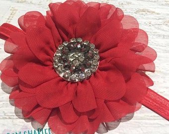 Red Daisy Bling Chiffon Flower Headband - Handmade