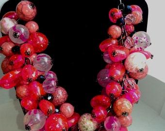 handmade necklace Raspberry Mousse