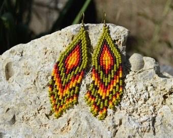 Long beaded earrings Native style Seed bead earrings  Fringe earrings