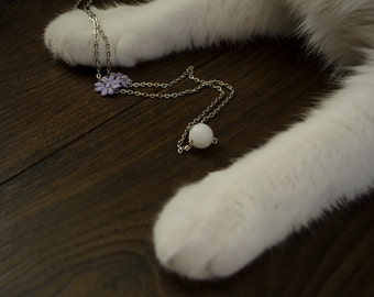 Lavender Daisy Chain Bead Necklace