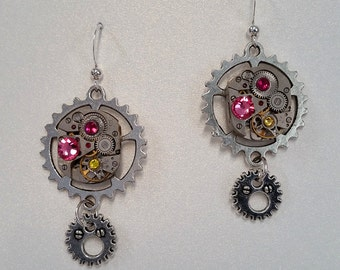 Steampunk Earrings with Vintage Watch Movements