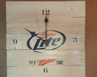 Handmade, wood Miller Lite clock, free usa t-shirt