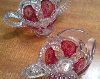 Vintage Cranberry Glass Creamer and Sugar Bowl