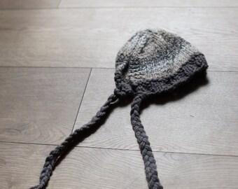 RTS Brown wool mix bonnet Newborn