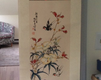 Vintage Chinese Silk Scroll