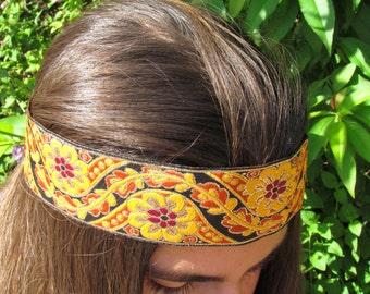 headband, Floral Hippie Headband, Boho Headband, Hippie Flower Headband, Bohemian Headband, Gypsy Headpiece