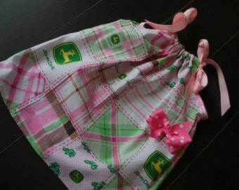 Free MONOGRAM and HAIR BOW with John Deere pillowcase sack dress