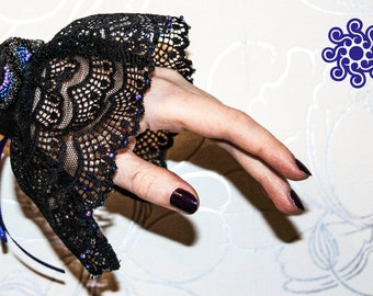 Gothic lace Mittens (lace cuffs) with beadwork