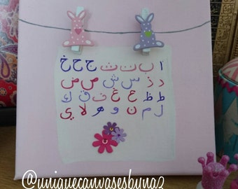 P r e t t y  i n  P i n k. New Baby. Nursery Decor. Eid Gift Birthday Gift. Craft canvas piece.  Stretched Canvas 20cmx20cm