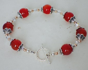 Red Agate Gemstone and Crystal Beaded Bracelet