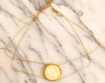 Gold and White Double Chain Choker