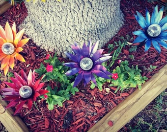 Metal flower solar lights, walkway lights, garden stakes, metal yard decoration, Red,blue,purple,and orange *Set of 4*