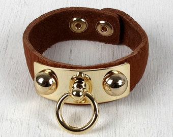 Ball Studs Ring Cuff Bracelet - Brown