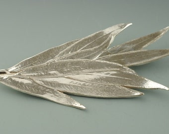 Willow Leaf Brooch, Lost Wax Cast Jewelry