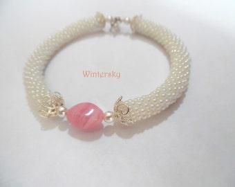 Bead crochet bracelet lariat rope Нежность beadwork Seed beads jewelry