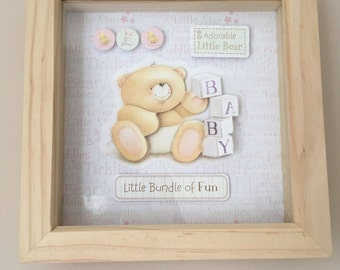 Forever Friends baby girl 3D decoupage picture frame
