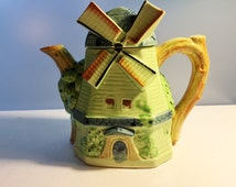 Cottage Ware Windmill Teapot -  Made in Japan - Green Ceramic Windmill Tea Pot in Cottageware - Vintage Kitchen Kitsch