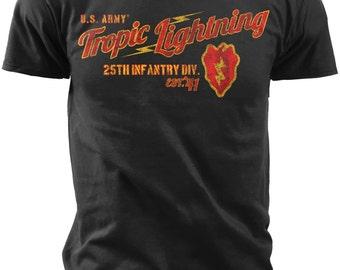Black Ink Men's 25th Infantry Division Retro T-Shirt (MT643)