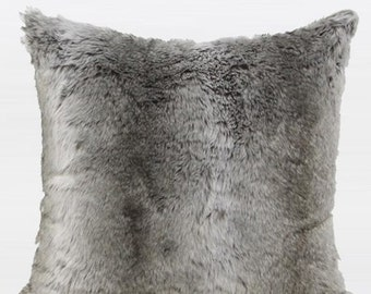 "Luxury Gradient Gray Faux Fur Pillow Cover 22""X22"""
