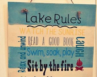 Lake Rules rustic sign