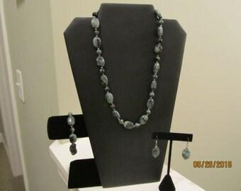 Green Jasper Necklace, Bracelet, and Earrings