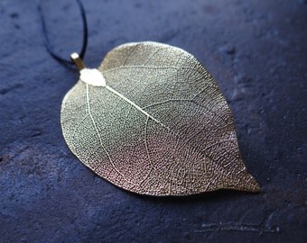 Real Natural Gold Plated Leaf Necklace on a Black Adjustable Cord