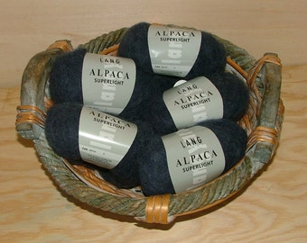 Lang Yarns Alpaca Superlight Made in Italy Color No 0010 Lot No 2 Steel Blue Crochet Knit