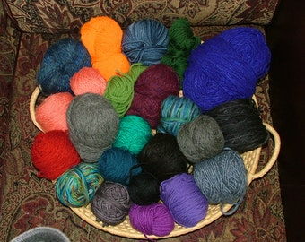 Mystery Grab Bag, 3 lbs, Mostly Worsted Weight, Some Hand Dyed, Assorted Yardage, Assorted Fibers Destash Crochet Knit - Box 2