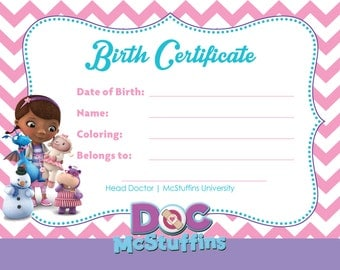 Doc McStuffins Party Birth Certificate for Toys - Digital Download