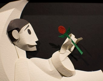 Pierrot in the Moon Paper Sculpture
