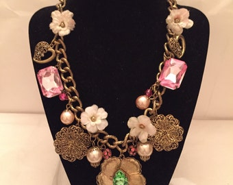Gold Chunky Charm Flower Garden Necklace