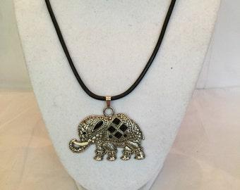 Silver Lucky Elephant Pendant Necklace