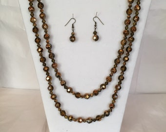 """48"""" Golden Shimmer Jewery Set/Necklace and Earrings/Beaded Jewelry/Long/Bead"""