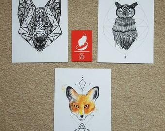 Bundle of Three A5 Geometric Art Prints: Fox, Wolf and Owl