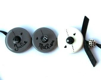 Bracelet names three custom medallions grey and white