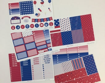 4th of July Weekly Kit / Planner Stickers / Erin Condren Planner Stickers / Vertical