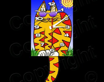 Cat Clock with Swinging Tail Pendulum • Sunglass Cat Clock
