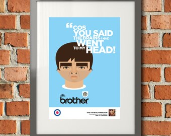 Noel Gallagher, Oasis, Don't look back in Anger, Man City Print