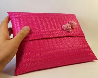 Handmade Thai Bamboo Handbag of Pink Colour