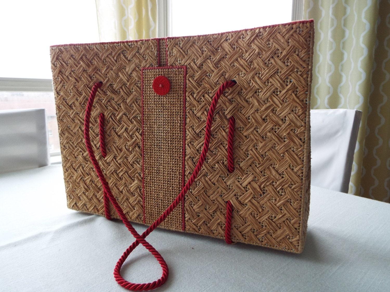 Handbag Lining Material : Straw handbag with fabric lining and silk by geohandscreations