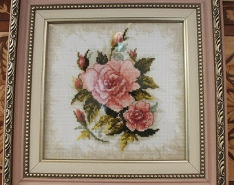 """Hand made.Embroidered with Beads picture. Picture"""" Розы"""""""