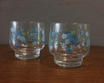 Vintage bloemen glaasjes // 8 stuks