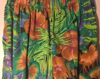 Tropical Cotton Pull on Pants with Tailored Cuff Ankle