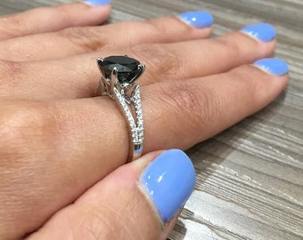 Vintage Style Black Diamond Engagement Ring made in 18k white gold