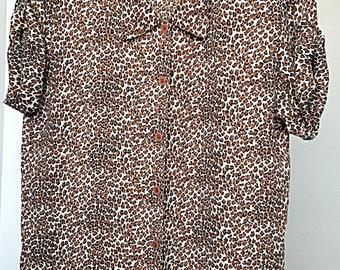 Vintage Leopard Print Blouse