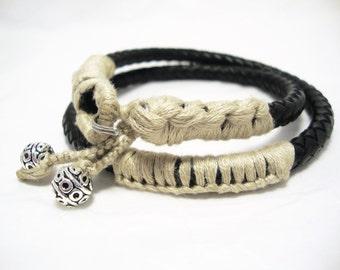Braided Leather Double Wrap Macrame Bracelet