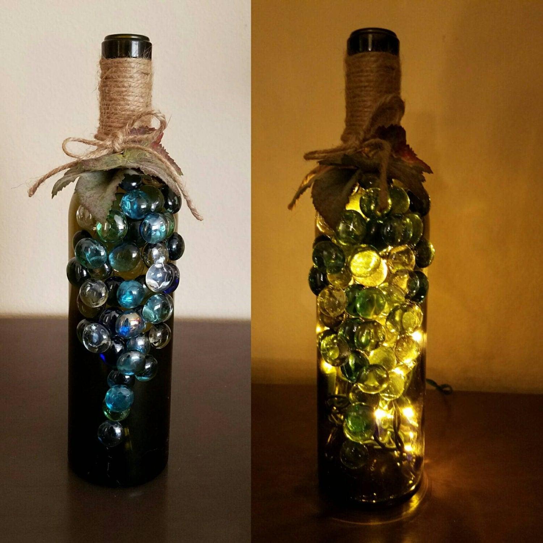 Grape light up wine bottles decorated wine bottles lighted for Light up wine bottles