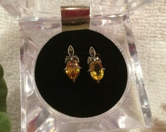 Pretty Vintage Solid Sterling Silver Earrings set with NATURAL CITRINE Stones and MARCASITES-Traditional and Pretty Design